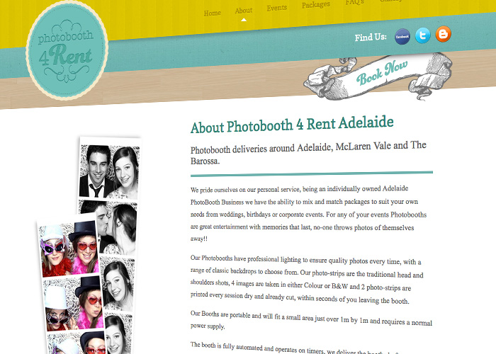 Website Design layout for Photobooth 4 Rent